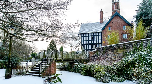 Tudor house in Worsley in winter time